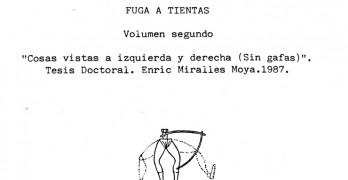 Vistas de ARRIBA ABAJO (con gafas), comentando un comentario de la tesis doctoral de Enric Miralles