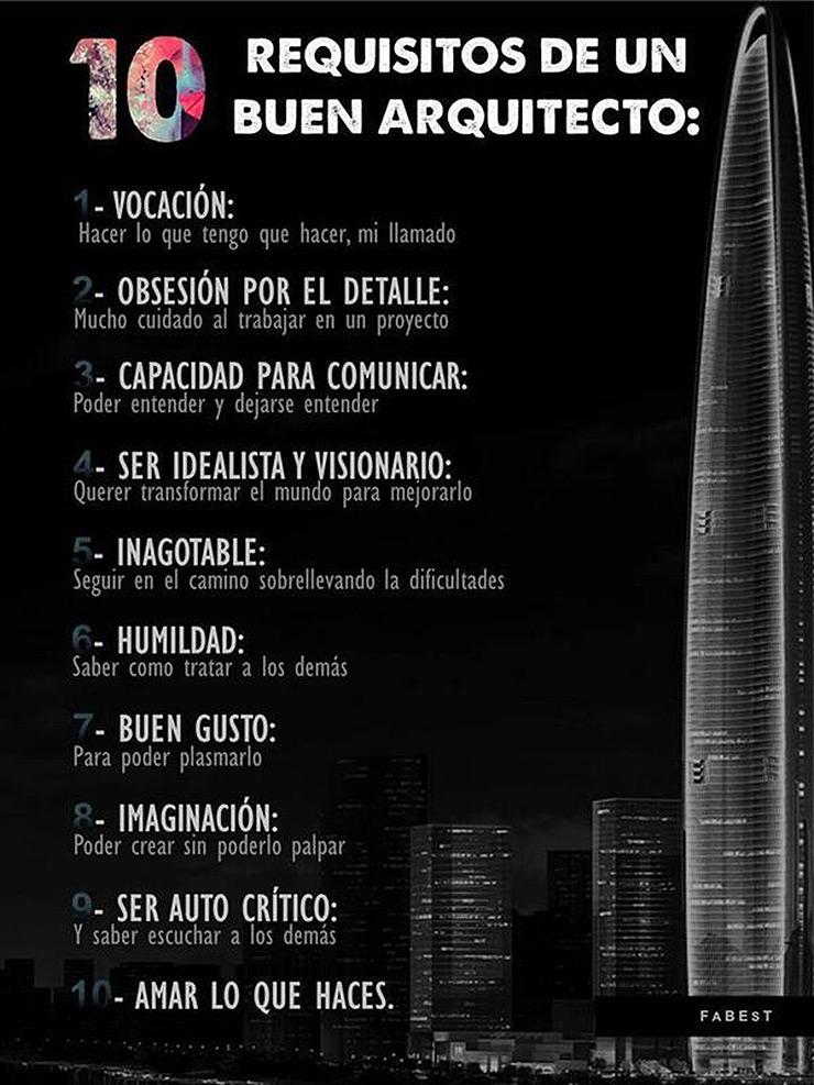 10 Requisitos de un arquitecto