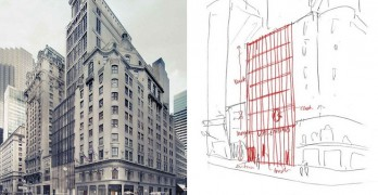 Expresividad del croquis, Chipperfield para Valentino New York