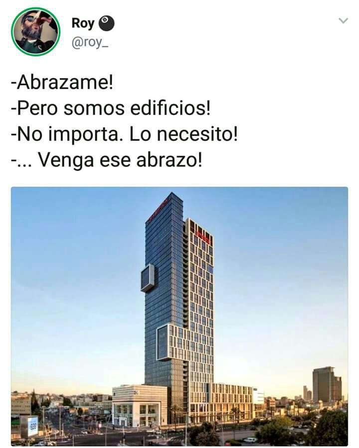 Abrazos edificio abrazandose amor arquitectónico