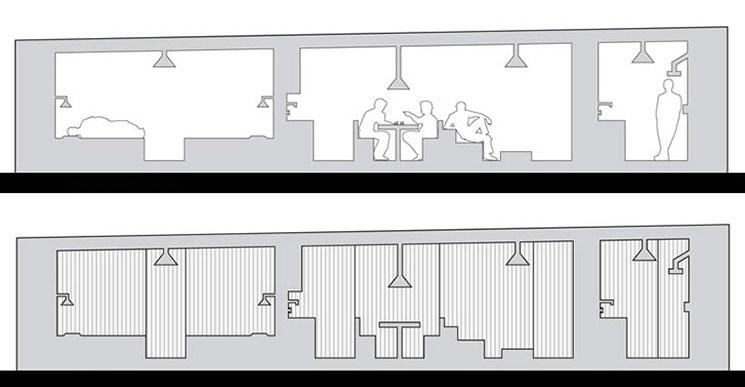 Tabiques moviles para viviendas free han combinado la pared de ladrillo por un lado con estos - Tabiques moviles vivienda ...