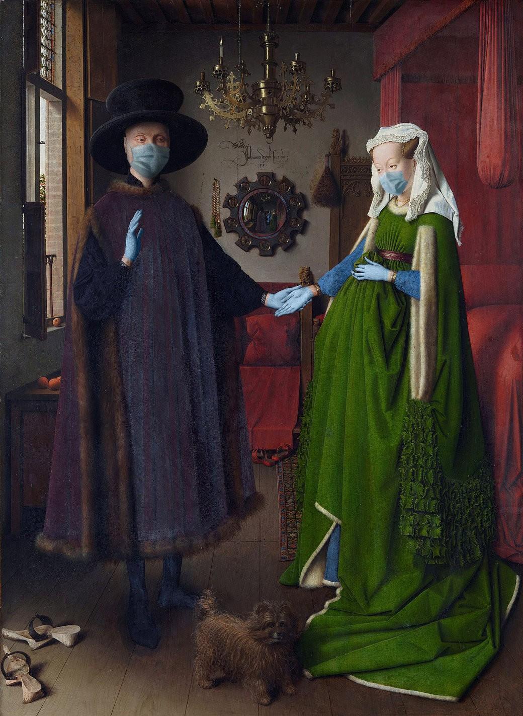 COVID-19-Retrato-de-Giovanni-Arnolfini-y-su-esposa-Jan-van-Eyck