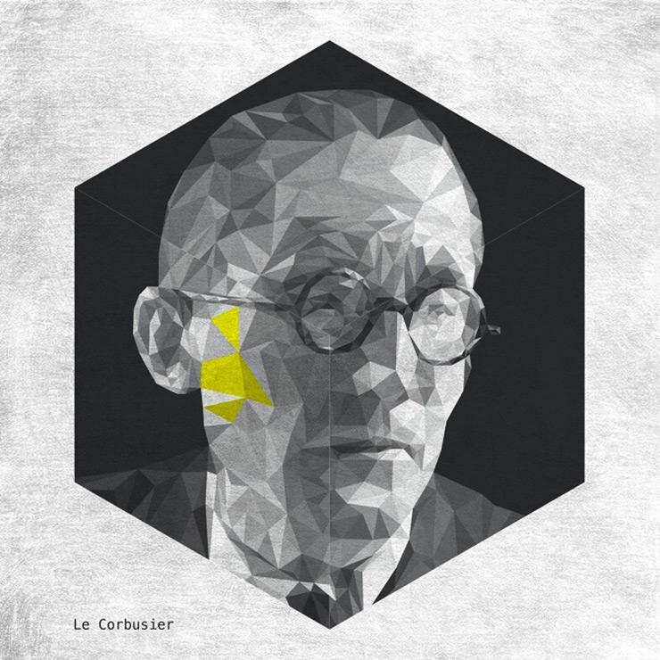 Cara triangulando las caras de los arquitectos famosos - Arquitecto le corbusier ...