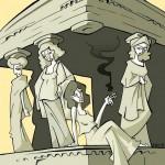 Cariatides humor arquitectura ilustracion