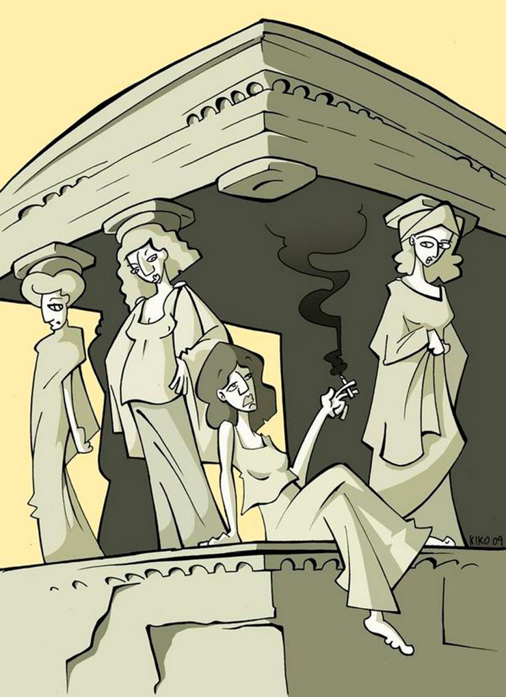 Cariátides – Humor arquitectura clásica