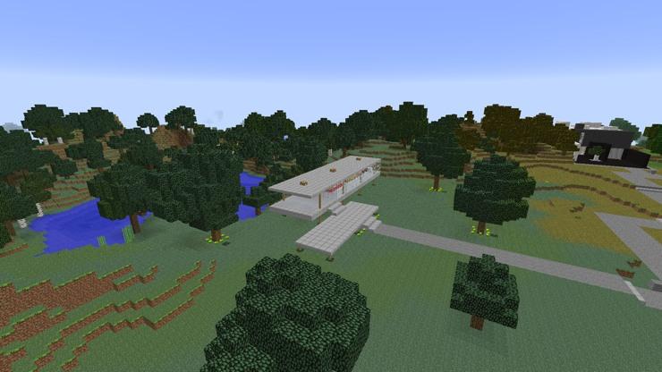 La Casa de la Cascada, La Casa Farnsworth y la Villa de Saboya recreados en Minecraft