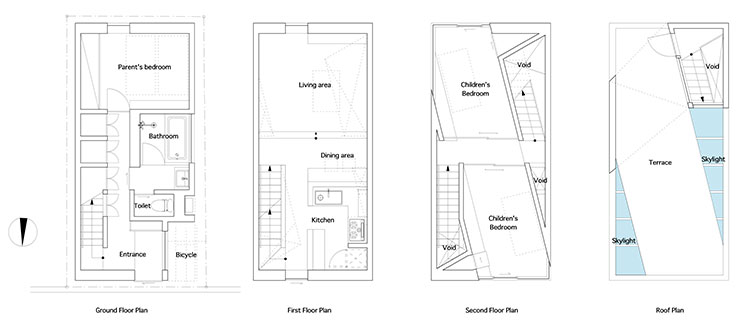 Casa en tamatsu por el arquitecto kenji ido - Distribucion casa alargada ...