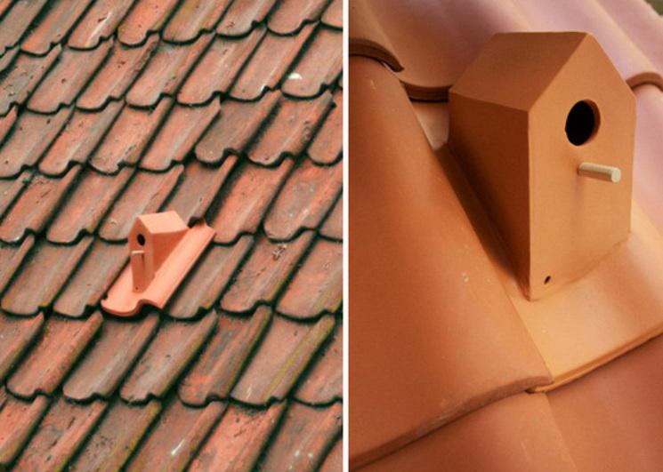 Una casa para pájaros en una teja por Klaas Kuiden