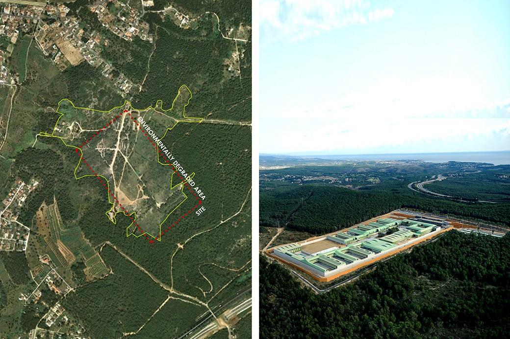 Ortofoto indicando el área medioambientalmente degradada y visión aérea del complejo penitenciario. Se ve una foto desde el aire de la zona que ocupa el proyecto y a la derecha, el proyecto construido junto a la autopista.