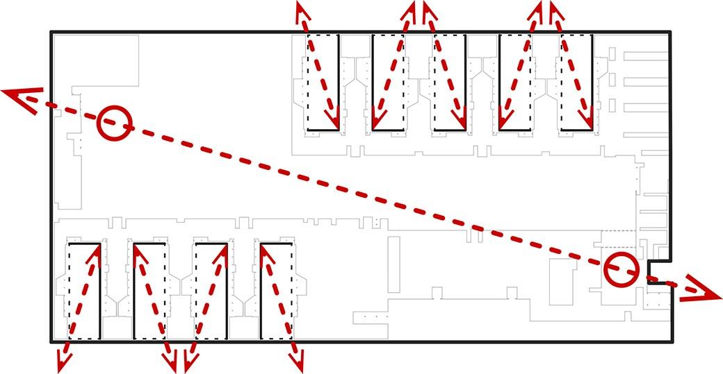 Esquema de diagonalización del espacio y rotura de la caja. Dibujo hecho por los arquitectos para explicar las visuales.