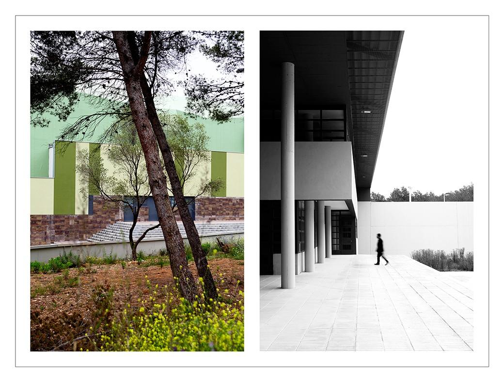 Doble imagen de la prisión por fuera. Derecha en blanco y negro, izquierda en color.