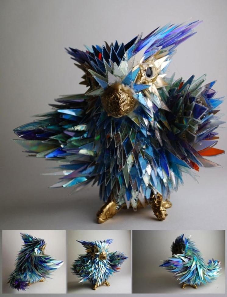 Increíbles esculturas de animales realizadas con CDs rotos