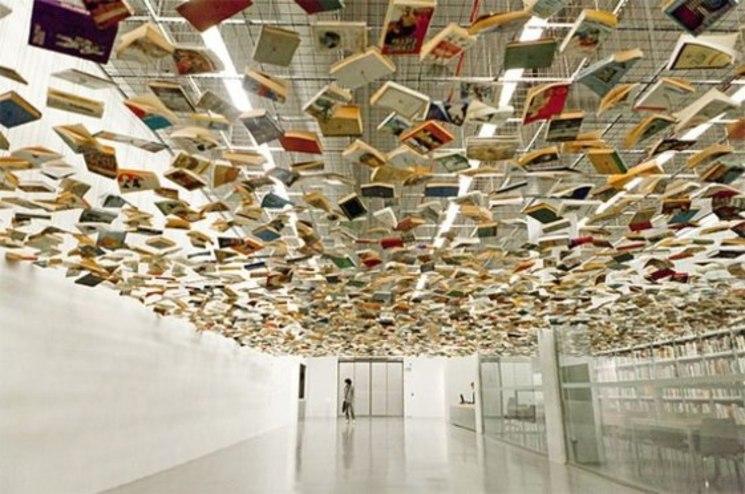 Falso techo de libros