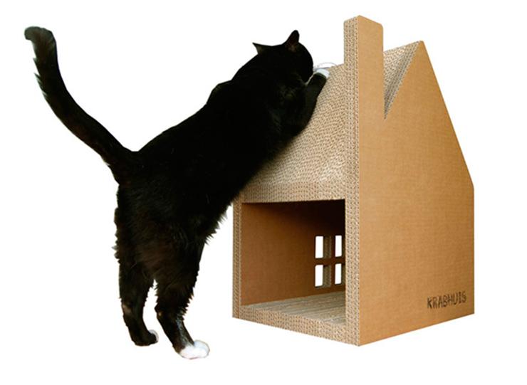 Krabhuis: Casa de cartón para tu gato