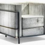 Sillón LC2 de Le Corbusier realizado con hormigón