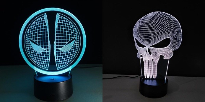 Lamparas led 3D - Super Heroes