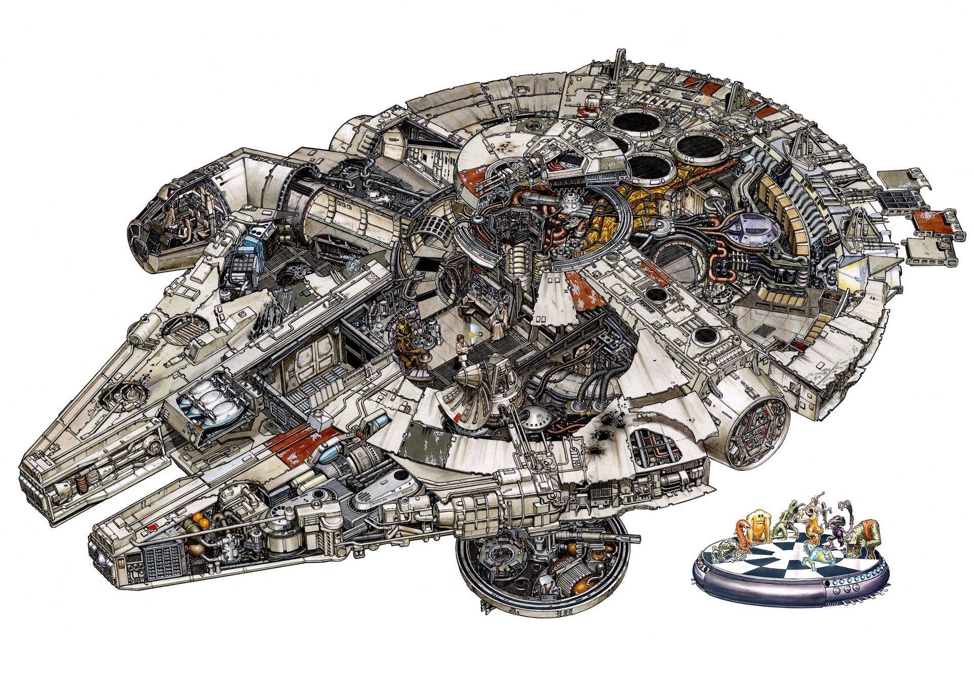Localizaciones y naves de star wars ilustradas a todo detalle for Interior halcon milenario