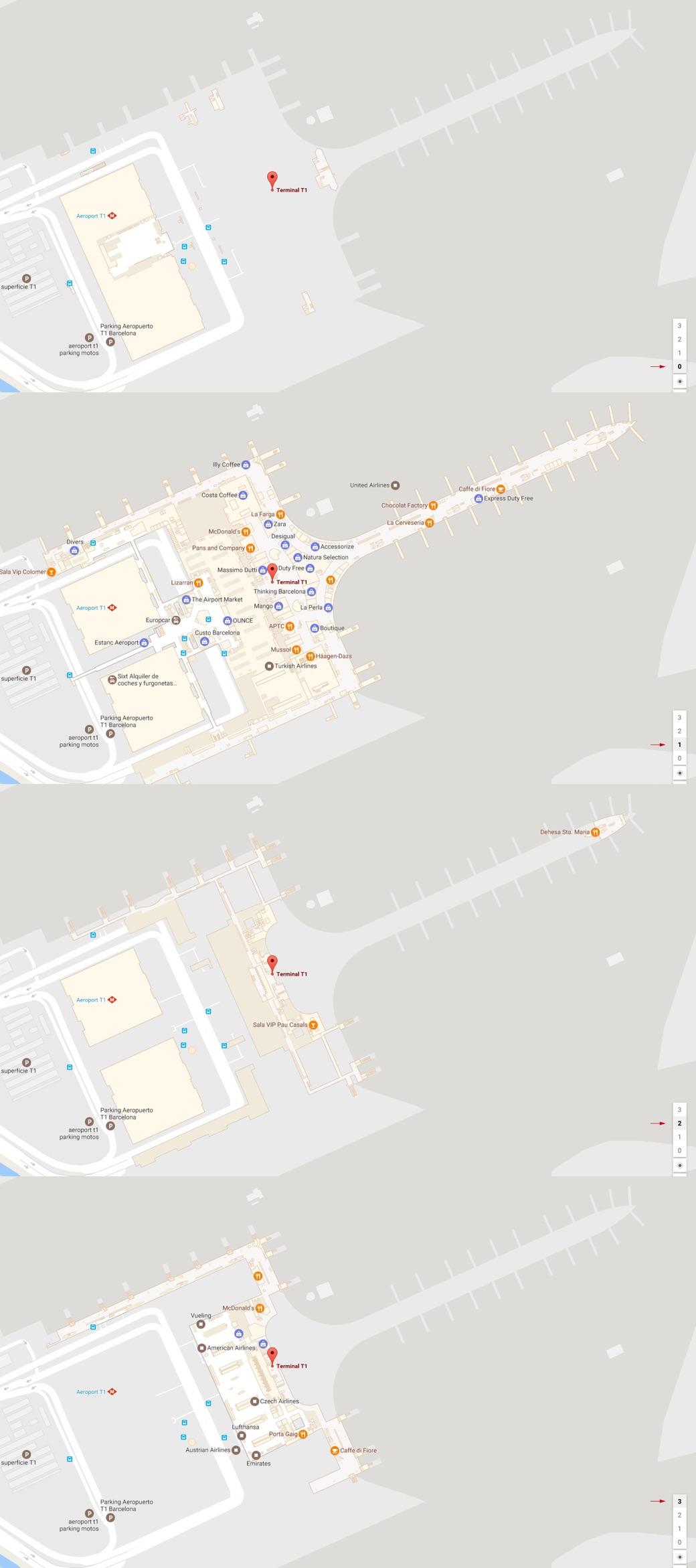 Aeropuerto de Barcelona - el Prat en Mapas Interiores de Google Maps