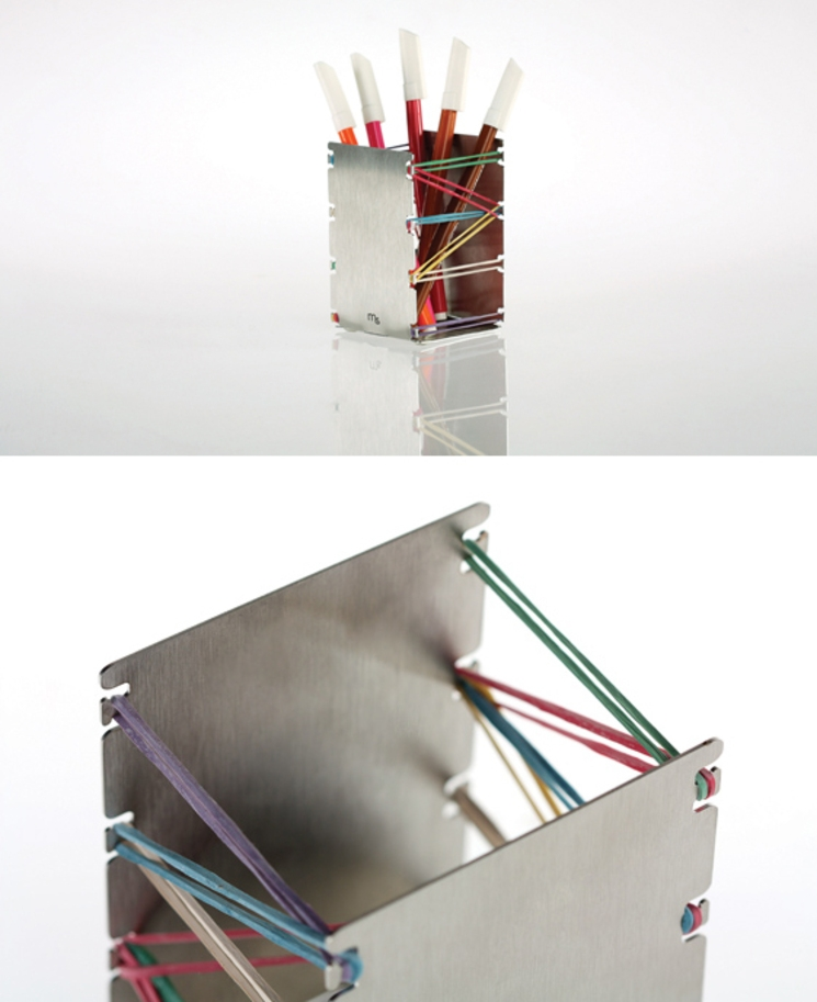 ¡Deje de ligar! - Porta lápices de acero inoxidable y ligas
