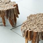 Mesa realizada con baguettes de pan