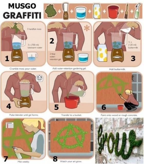 Grafftis realizados con musgo