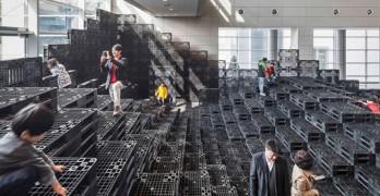 Paisaje tectónico realizado con 1000 pallets reciclados