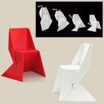 Origami para mobiliario de cartón. Silla Papton