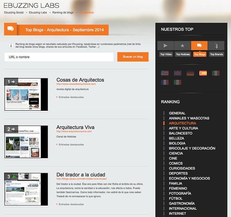 Primeros en el ranking de blogs de arquitectura de Ebuzzing, gracias a todos vosotros