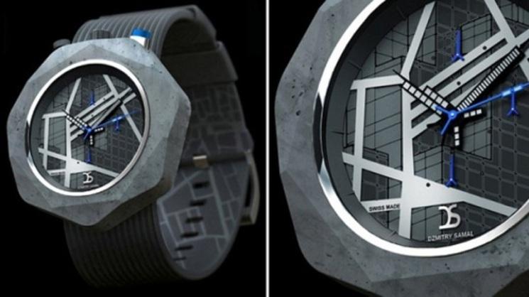 Reloj de pulsera realizado en hormigón