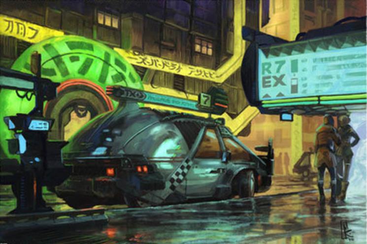 Coche futurista por Syd Mead