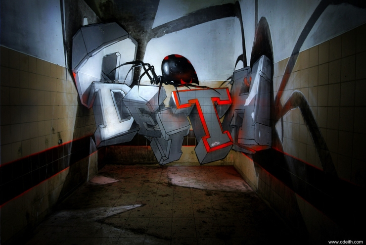 Sergio Odeith: White block graffiti letters standing black widow
