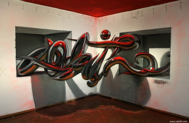 Sergio Odeith: Chrome tubes lettering standing 2 holes top red light