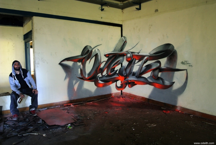 Sergio Odeith: Anamorphic 3D graffiti letters orange fluor light reflected
