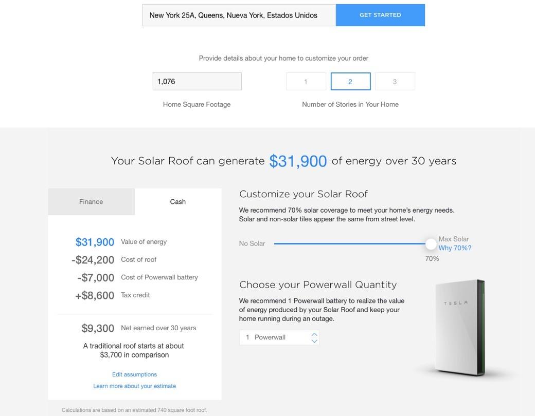 Tesla Solar Roof Calculator