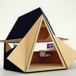 Tetra shed – Sistema de oficina modular, moderno e inspirado en el origami
