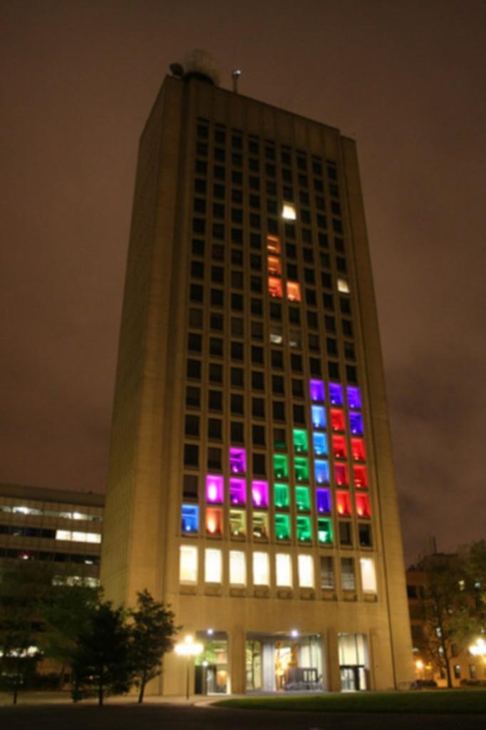 Jugando al Tetris en un edificio del MIT