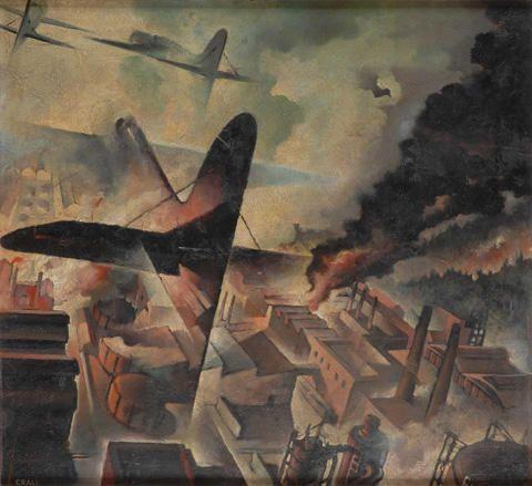 Tullio Crali 1942 Bombardamento di una fabbrica