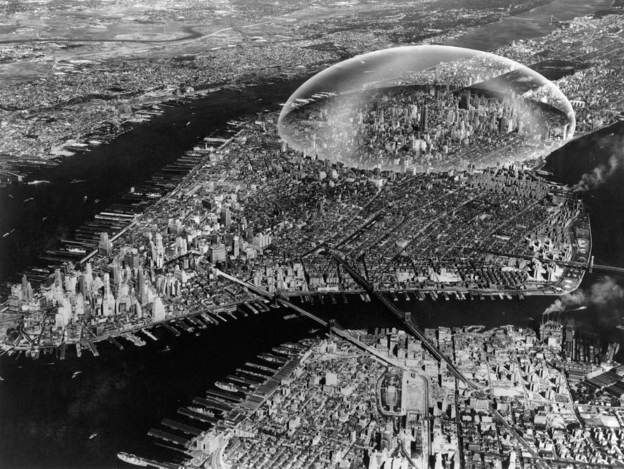 dome over manhattan project- by R. Buckminster Fuller & Shoji Sadao, 1960