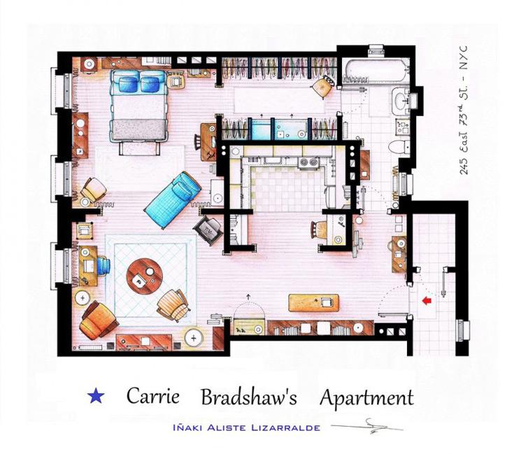 Dibujos a mano de los planos de las casas m s famosas de for Sexo en nueva york wikipedia
