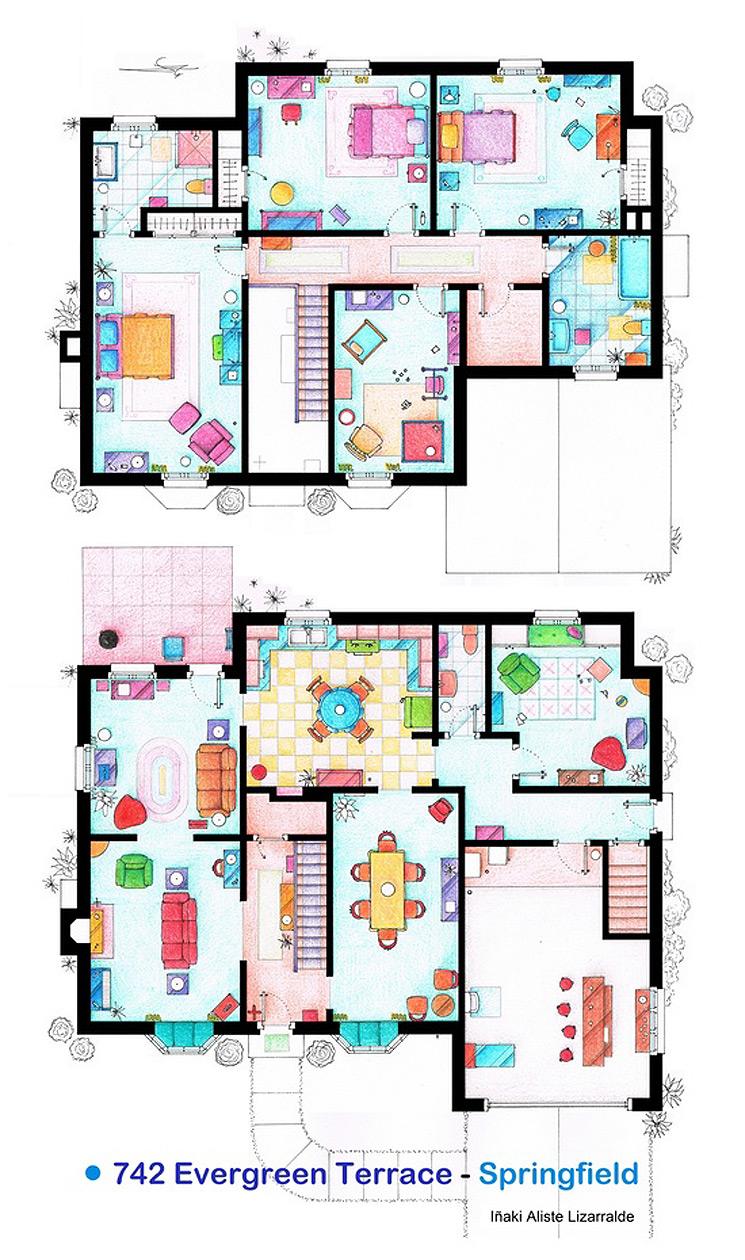 Dibujos a mano de los planos de las casas m s famosas de for Imagenes de planos de casas