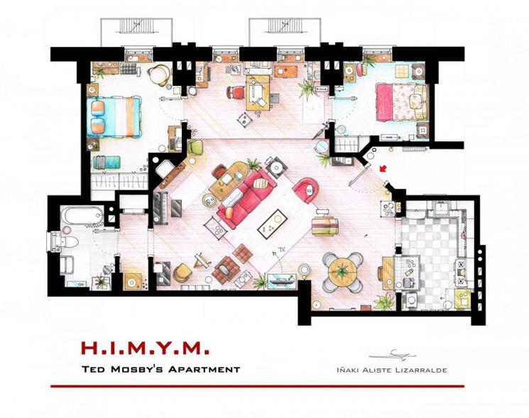 Dibujos a mano de los planos de las casas más famosas de series de Tv y películas por Iñaki Aliste Lizarralde