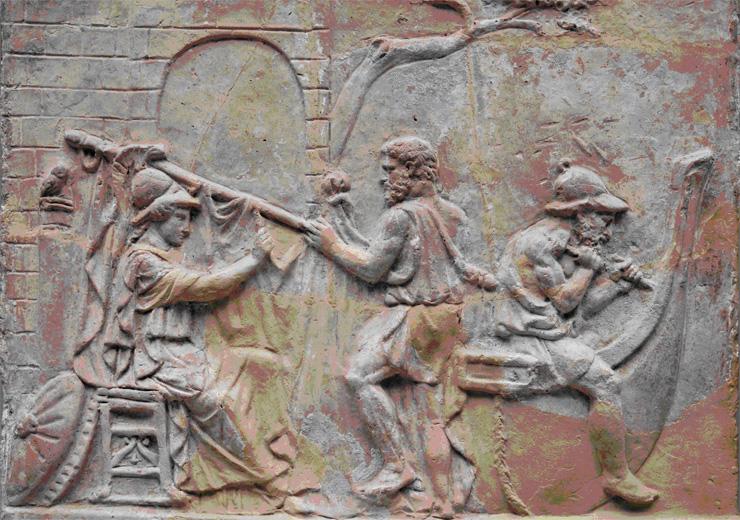 Atenea dirige la construcción de la nave Argo. Bajorrelieve romano. S. I d.C. Museo Británico